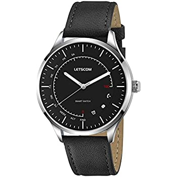 Letscom Smart Watch - Analog Quartz Watch and Activity Smartwatch 2-in-1 Unit, Fitness Tracker Watch with Pedometer, Sleep Monitor, Call/Message Vibration, PU Leather /Textured Nylon Band in One Pack
