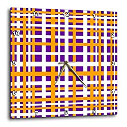 3dRose BlakCircleGirl - Design - Orange Plaid - Fun and bold plaid stripe design in white orange and purple - 13x13 Wall Clock (dpp_286911_2)