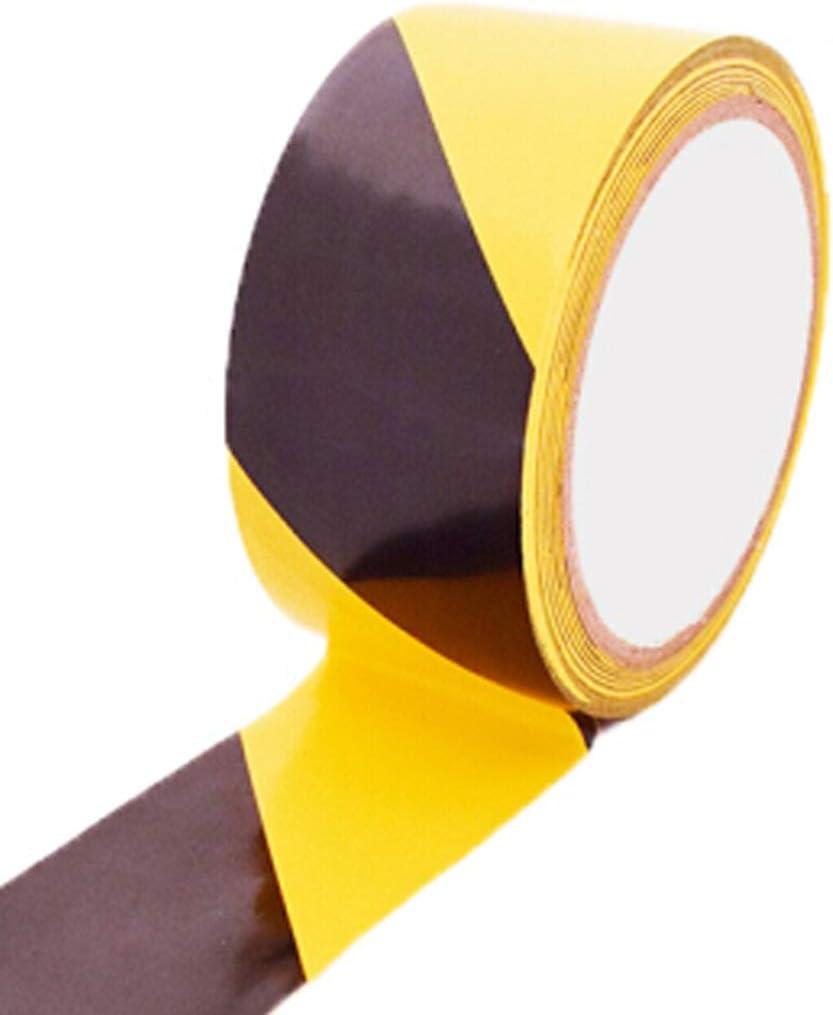 Cinta de advertencia de seguridad Cinta adhesiva para el suelo Cinta adhesiva Cinta de ruta p/ública Punto de referencia Pegatina de identificaci/ón Cinta de identificaci/ón de color Amarillo Negro 4.8cm