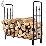 Blossom Store 4 Feet Outdoor Heavy Duty Steel Firewood Log Rack Wood Storage Holder Black by