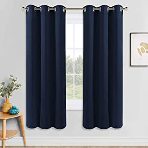 PONY DANCE Bedroom Blackout Curtains - Thermal Insulated Curtain Panels Grommet Light Blocking Home Decor Window Draperies for Living Room, 42 by 54 inches, Navy Blue, 1 Pair