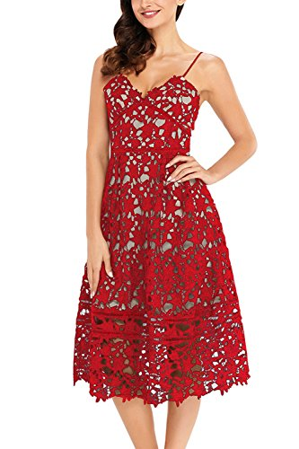 (GOSOPIN Women A Line Lace V-Neck Cocktail Party Midi Skirt Spaghetti Strap Dress Small Red)