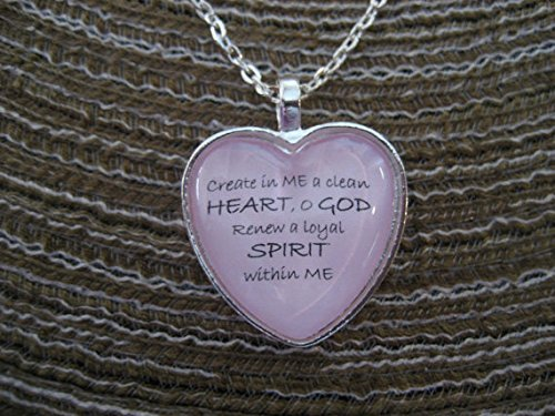 Heart Shaped Tiles - Heart Shaped Scripture Necklace Bible Verse Psalm 51:10 Create In Me A Clean Heart, O God