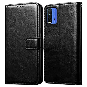 Amazon Brand – Solimo Flip Leather Mobile Cover (Soft & Flexible Back case) for Mi Redmi 9 Power (Black)