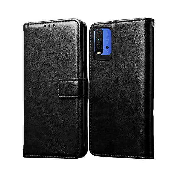 Amazon Brand - Solimo Flip Leather Mobile Cover (Soft & Flexible Back case) for Mi Redmi 9 Power (Black) 2021 July Snug fit for Mi Redmi 9 Power, with perfect cut-outs for volume buttons, audio and charging ports Compatible with Mi Redmi 9 Power Durable design combining smooth outer PU Leather finish with soft TPU inner case, Protects phone from scratches, falls, fingerprints and sweat