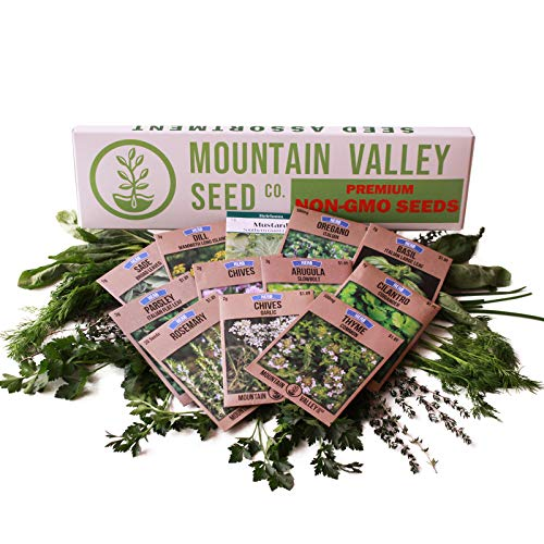 Culinary Herb Seeds Garden Collection | Deluxe Assortment | 12 Non-GMO Seed Packets: Basil, Dill, Oregano, Mustard, Cilantro, Sage, Rosemary, Thyme, Arugula, More