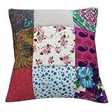Diseñador Cojín hecho a mano multicolor Home Décor Patchwork Funda de almohada decorativa Algodón India 17'' pulgadas
