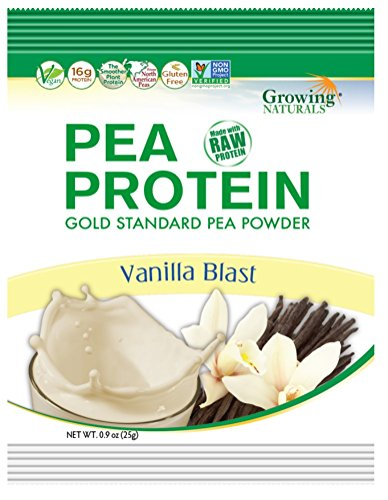 Growing Naturals Pea Protein Powder, Vanilla Blast, 0.9 Ounce, 12 Count by Growing Naturals
