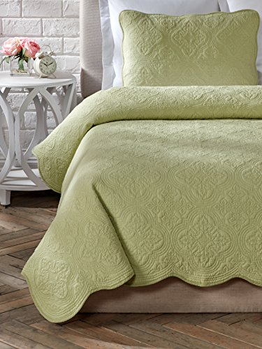 Cozy Line Home Fashions Size 3 Piece Blantyre Scalloped Edge Cotton Quilt Set, Full/Queen, Green