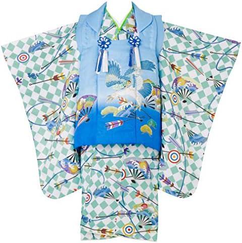 七五三 着物 3歳 被布セット 男の子 京都 花うさぎ 緑色の着物 水色x青色の被布コート 扇 松 矢絣 鷹 フルセット 販売 IG-1 hifuset-00015