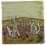"MARA STONEWARE COLLECTION - 8"" Square Collectible & Funcation Tile, Trivet, Plaque - Desert & Coyote Design"