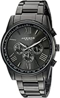 Akribos XXIV Men's AK736BK Ultimate Swiss Multifunction Black Stainless Steel Bracelet Watch