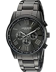 Akribos XXIV Mens AK736BK Round Three-Hand Quartz Bracelet Watch