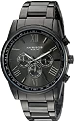 Akribos XXIV Men's AK736BK Round Three-Hand Quartz Bracelet Watch