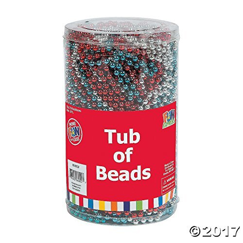 Patriotic July 4 Red Silver and Blue Tub of Beads (6 Dozen) 144 Bulk Pack For Independence Day and Memorial Day