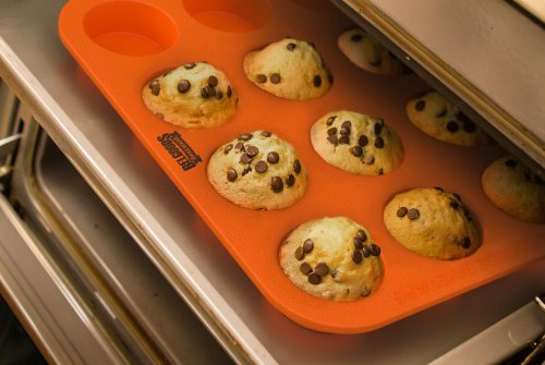 Silicone Muffin Cupcake Baking Pan Tray - Standard Size - 12 Cups - 100% Pure Food Grade Non-Stick Silicone - Orange - Bake Like a Professional by Belgoods Bakeware (Image #4)