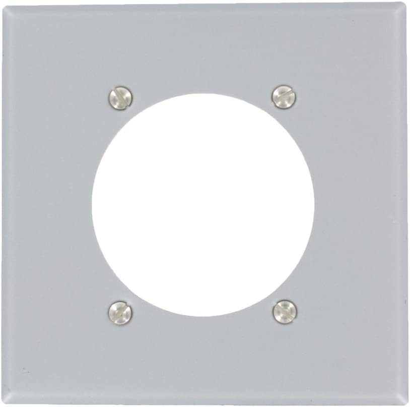 Leviton S701-GY 001-0S701-0Gy Power Receptacle Standard Size Wall Plate, 2 Gang, 4.5 In L X 4.56 In W 0.19 In T, Aluminum/Steel