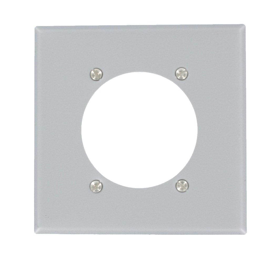 Leviton S701 Gy 2 Gang Power Receptacle Wallplate Flush Mount Wiring Devices 50amp Flushmount Range Appliance Electrical Outlet Standard Size Device Steel Aluminum Finish Plates