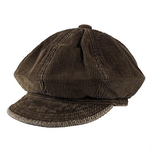 Morehats Cotton Corduroy Slouchy Flat Cap Cabbie Hat Gatsby Ivy Irish Hunting Newsboy Hunting Beret - Chocolate