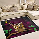 Naanle Cute Owl Area Rug 5'x7′, Owl on Tree Branch Polyester Area Rug Mat for Living Dining Dorm Room Bedroom Home Decorative For Sale
