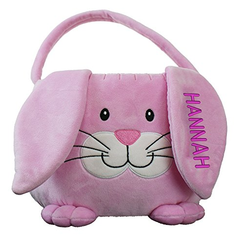 Embroidered Plush Pink Bunny Personalized Easter Basket, 10