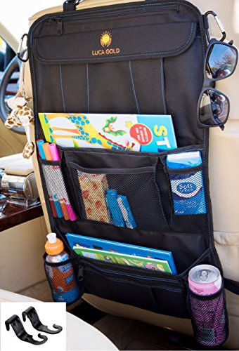 Premium Car Back Seat Organizer by Luca Gold | Multifunctional Vehicle Storage Bag with Clear Touch Screen Pocket + Headrest Holder Hook