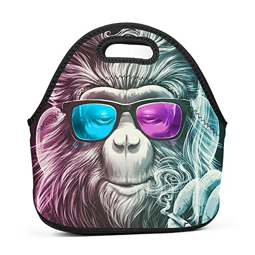 MMQbeal Smoky Hipster Monkey Neoprene Insulated Lunch Bag Reusable Lunch Tote Soft Thermal Cooler Tote Portable Lunchbox School Work Travel Picnic Handbag for Women Men Girls - Brittany Records