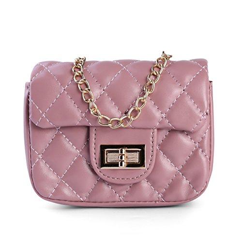 Purse Mauve Clutch Cross Chain body Handbag Diamond Shoulder Strap Quilted w Flap c1Rw61qYP