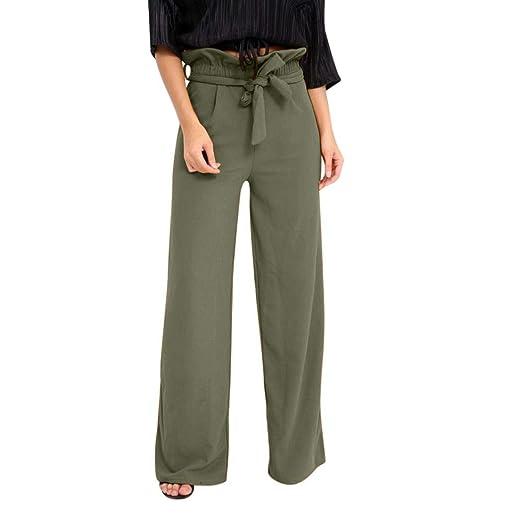 1b97f6d2d8 JOFOW Women's Pants,Autumn Casual Solid Wide Leg Pant Belt Tie Bowknot  Elastic High Waist