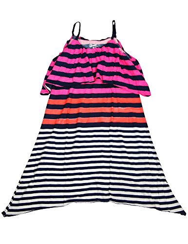 Girl Flower Discounted - Flowers by Zoe - Big Girls' Striped Spaghetti Strap Dress, Navy, Pink, Orange 33088-10