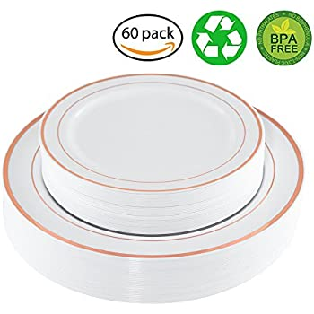 Amazon.com: 60 Pack Gold Plastic Plates, White Party Plates ...