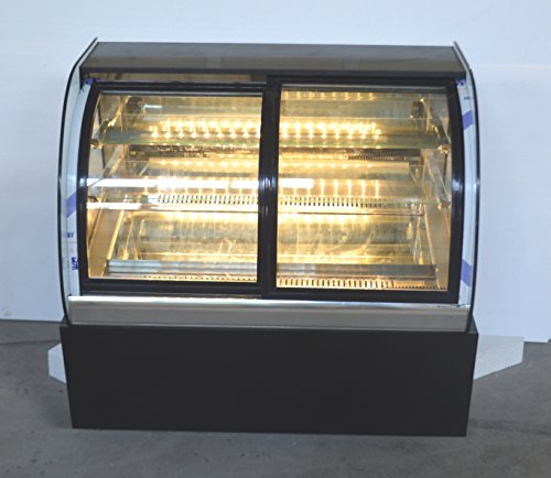 220V Commercial Curved Countertop Refrigerated Cake Bakery Display Case Cabinet Open the Front Door(Item#210081) Bakery Display Case Refrigerated Curved