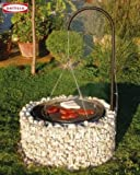 Garden Grill Gabion Barbecue Grid With Adjustable And Swivel-mounted Cooking Grate Set Diameter 92 Centimeter