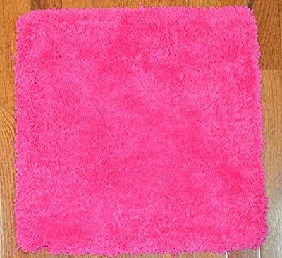 Dean Lavish Shaggy Carpet Tile Squares/Shag Rug - Pink with Peel and Stick Backing