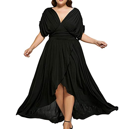 350fc65365 Women s Vintage Plus Size Dress Loose Short Sleeve V Neck Ruffles Party  Maxi Dresses at Amazon Women s Clothing store