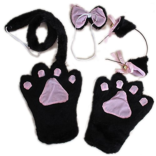 [Hip Mall Black Cat Cosplay Fancy Costume Lolita Gothic Paw Headband Gloves] (Hot Costumes For Teens)