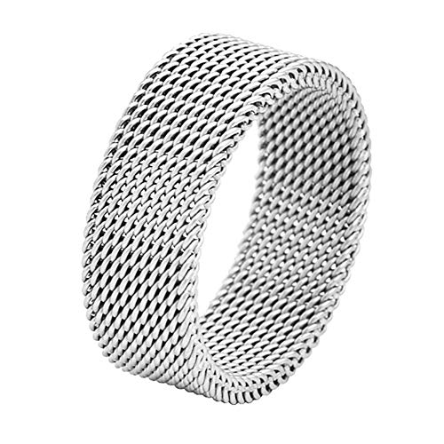 (Geoffrey Beene Stainless Steel Men's Comfort Fit Mesh Ring, Silver)