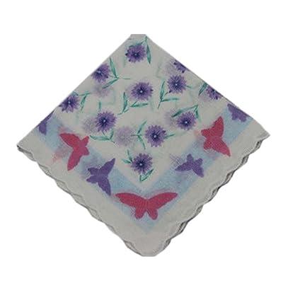 3 Pcs Retro Floral Print Mouchoirs Ladies Cotton Pocket Mouchoir, # 04