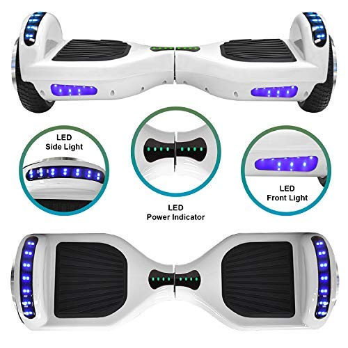 NHT 6.5'' Hoverboard Electric Self Balancing Scooter Sidelights - UL2272 Certified Black, Blue, Pink, Red, White (102 White) by NHT (Image #1)