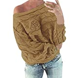 SMALLE ◕‿◕ Clearance,Pullover for Women, Multicolor Striple Flower Sweater Casual Knitted Long Sleeve Pullover