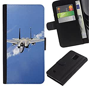 All Phone Most Case / Oferta Especial Cáscara Funda de cuero Monedero Cubierta de proteccion Caso / Wallet Case for Samsung Galaxy Note 4 IV // Nature Fighter Jet