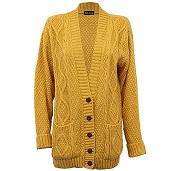 Amazon.com: Ladies' Knitted Cardigan L5BUTH4 Mustard Medium/Large ...