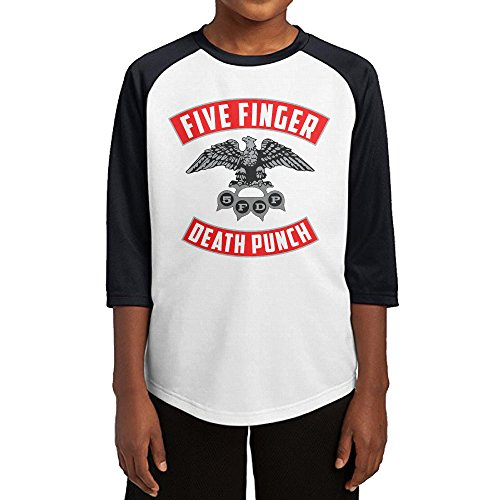 Hotboy19 Youth Boys Five Fingers 5FDP Band Raglan Tee Baseball Shirt Black Size S
