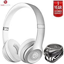 Beats By Dre Solo2 Wireless On-Ear Headphones MKLE2AM/A - Silver (Certified Refurbished) + HardBody PRO Full Sized Headphone Case with 1 Year Extended Warranty