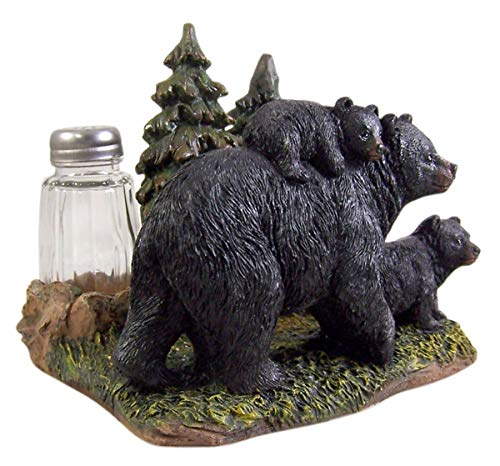 - Black Bear With Cubs Salt and Pepper Shaker and Napkin Holder 5 1/4 Inch (Shakers Included)