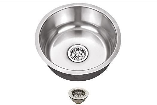 MSSBRP, 17.13-in x 17.13-in Stainless Steel 18-Gauge Single Bowl Round Bar Sink