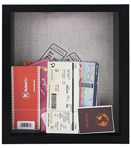 8x10 Black Ticket Shadow Box - Top Loading - Frame for Memorabilia - Raffle Ticket Stub Holder/Collector Decoration - Wall Display/Self-Standing - Linen Lined Back - Swivel Tab Back (8x10, Black)
