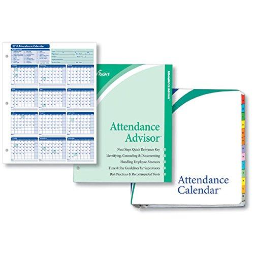 25 Pack Calendar (ComplyRight 2018 Attendance Calendar Kit, White, Pack of 25)