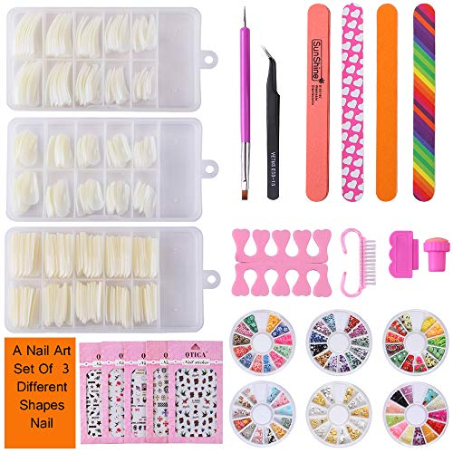 False Nail Tips Nail Art Kit,Three Different Shapes of Fake Nails,6 Wheels Acrylic Nail Rhinestones, 5 Sheets Decoration Sticker Decal Manicure Tools for Teens Women Girls (#2)