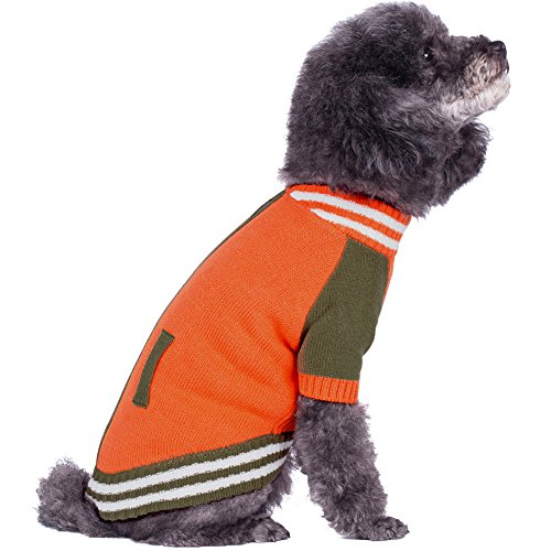 Image of Blueberry Pet 2 Patterns Weekender Sports Baseball Jacket Style Pullover Dog Sweater in Orange, Back Length 16